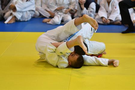 Orenburg, Russia - November 05, 2016: Boys compete in Judo on VI city Judo tournament on prizes the head of the city of Orenburg. Editorial