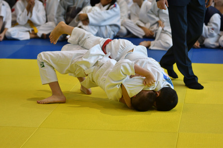 Orenburg, Russia - November 05, 2016: Boys compete in Judo on VI city Judo tournament on prizes the head of the city of Orenburg. Editorial