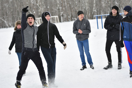 rivals rival rivalry season: Orenburg, Russia-January 26, 2017 year: Students compete in the tug-of-war in the winter games, dedicated to Day students Editorial