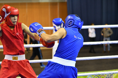 Orenburg, Russia - January 21, 2017 year : Boys boxers compete Russian boxing name V.N. Kanjukova for prizes of the northern administrative district of Orenburg Juniors