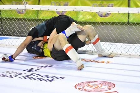 artes marciales mixtas: Orenburg, Rusia - 18 de febrero 2017 año: Los luchadores compiten en las artes marciales mixtas en el Campeonato de la región de Oremburgo en las artes marciales mixtas