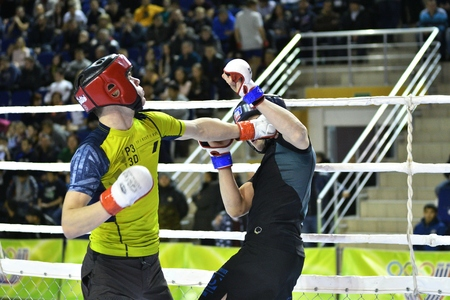 artes marciales mixtas: Orenburg, Russia - February 18, 2017 year: The fighters compete in mixed martial arts in the Championship of the Orenburg region on mixed martial arts Editorial