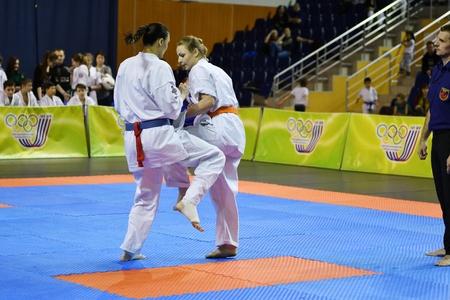 Orenburg, Russia - March 5, 2017 year: Girls compete in karate on Championship Orenburg region on kiokusinkaj Sinkekusinkaj
