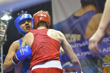 tough man: Orenburg, Russia - January 21, 2017 year : Boys boxers compete Russian boxing name V.N. Kanjukova for prizes of the northern administrative district of Orenburg Juniors