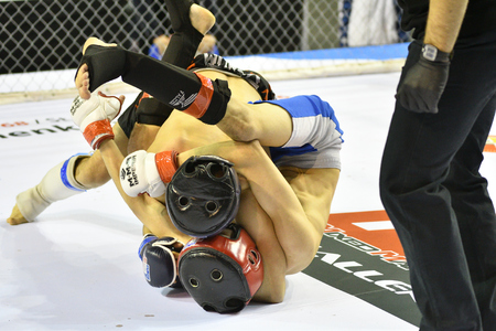 elaborate: Orenburg, Russia - February 18, 2017 year: The fighters compete in mixed martial arts in the Championship of the Orenburg region on mixed martial arts Editorial