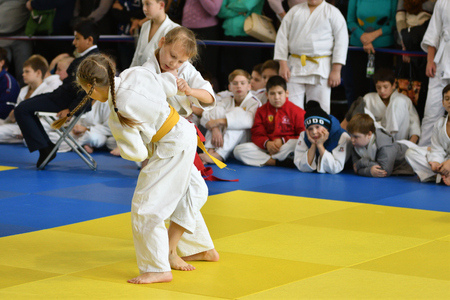 Orenburg, Russia - 05 November 2016: Girls compete in Judo on VI city Judo tournament on prizes the head of the city of Orenburg Editorial
