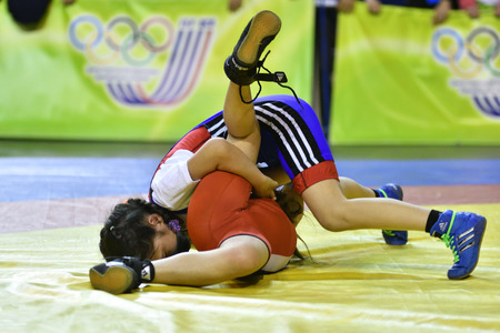 Orenburg, Russia-May 5, 2017 year: Girls compete in freestyle wrestling at the all-Russian tournament on free-style wrestling Carpet of hope