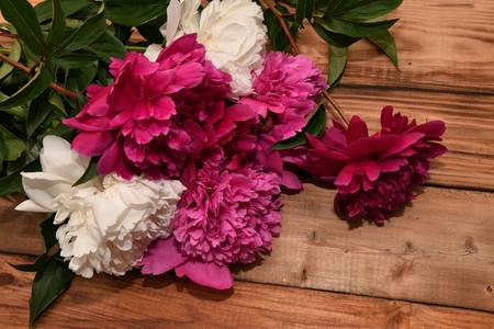 countertop: Bouquet of peony flowers on old wood countertop