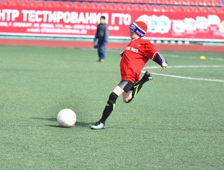 Orenburg, Russia-April 26, 2017 year: the boys play football on Cup Mayor Orenburg Futsal Championship among teams of boys born in 2006-2007 Editorial