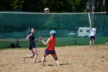 Orenburg, Russia, 9-10 June 2017 year: Girl playing beach volleyball on City tournament Beach Volleyball Golden Sands