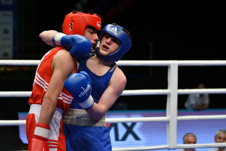 Orenburg, Russia-May 7, 2017 year: Boys boxers compete in the Championship of Russia in boxing among Juniors, born 1999-2000