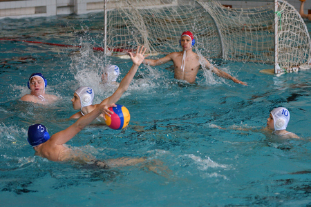 Orenburg, Russia - May 4, 2017 years: the boys play in water polo at the city water polo tournament