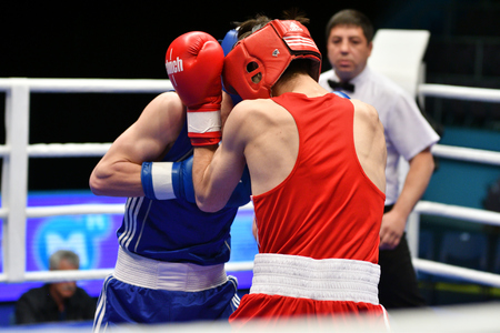 tough: Orenburg, Russia - May 7, 2017 year: Boys boxers compete in the Championship of Russia in boxing among Juniors, born 1999-2000
