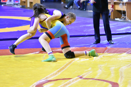 Orenburg, Russia - October 25, 2017 year: Girls compete in freestyle wrestling in the tournament for the prizes of the Governor of Orenburg oblast