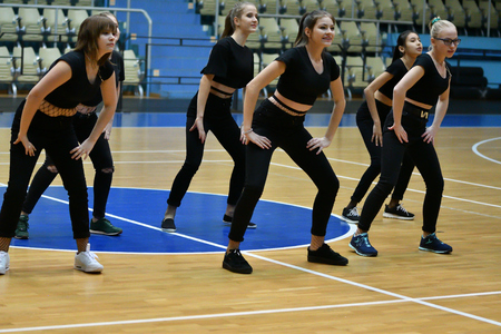 Orenburg, Russia - December 9, 2017 year: girls compete in fitness aerobics on superiority of the Orenburg region on fitness aerobics and sports aerobics