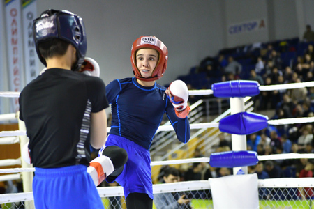 Orenburg, Russia - February 18, 2017 year: The fighters compete in mixed martial arts in the Championship of the Orenburg region on mixed martial arts 에디토리얼