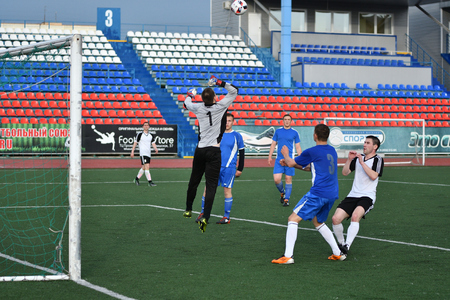 Orenburg, Russia, 8 June 2017 year: Men play soccer at the Open Championship Cup amongst the CKF