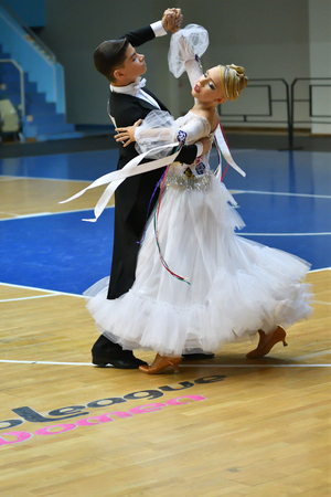 Orenburg, Russia - 12 November 2016: Girl and boy dancing on Orenburg competitions in sport dancing.