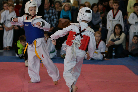Orenburg, Russia - January 27, 2018 years: the kids compete in Taekwondo on the Championship School of Olympic Reserve No. 6.