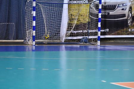 Orenburg, Russia - 11-13 February 2018 year: boys play in handball International handball tournament in memory of the first Governor of Orenburg province Ivan Ivanovich Neplueva