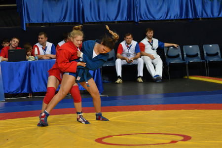 Orenburg, Russia - October 29, 2016: Girls compete in Self-defense without weapons in the Championship of Russia in Self-defense without weapons among boys and girls born 2000-2001 biennium of birth