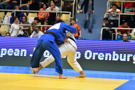 Orenburg, Russia - May 12-13 year 2018: Boys compete in Judo for European Judo Cup