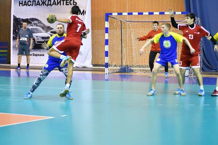 Orenburg, Russia - February13, 2018 year: boys play in handball International handball tournament in memory of the first Governor of Orenburg province Ivan Ivanovich Neplueva