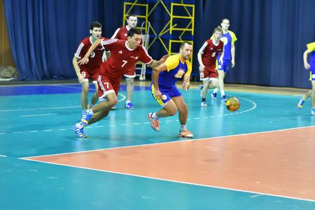 Orenburg, Russia - February13, 2018 year: boys play in handball International handball tournament in memory of the first Governor of Orenburg province Ivan Ivanovich Neplueva Sajtókép