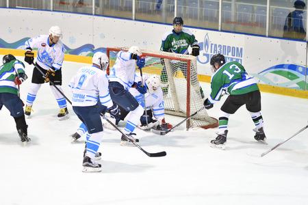 Orenburg, Russia - April 5, 2017 year: men play hockey on ice hockey tournament