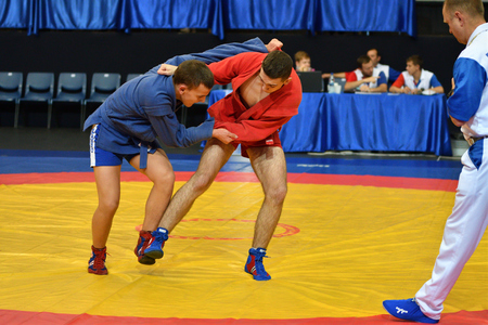Orenburg, Russia - October 29, 2016: Boys competitions Self-defense without weapons in the Championship of Russia in Self-defense without weapons among boys and girls born 2000-2001 biennium of birth