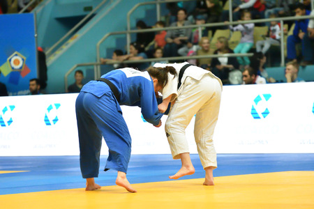 Orenburg, Russia - May 12-13 year 2018: Girls compete in Judo for European Judo Cup