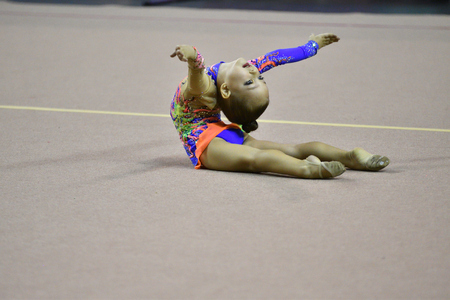 Orenburg, Russia - November 25, 2017 year: girls compete in rhythmic gymnastics on the Orenburg region Championship on rhythmic gymnastics Winter melody-2017.