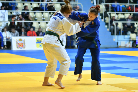 Orenburg, Russia - 21 October 2017: Girls compete in Judo at the all-Russian Judo tournament among boys and girls dedicated to the memory of V. S. Chernomyrdin Redakční