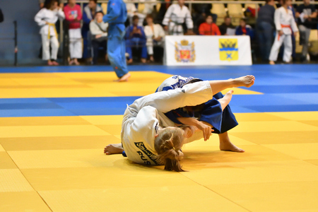 Orenburg, Russia - 21 October 2017: Girls compete in Judo at the all-Russian Judo tournament among boys and girls dedicated to the memory of V. S. Chernomyrdin Editorial