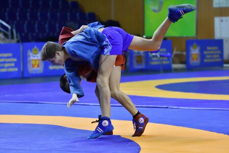 Orenburg, Russia - February 16, 2019: Boys competitions Self-defense without weapons in the Championship of the Orenburg region by Sambo among boys and girls born 2003-2004 biennium of birth