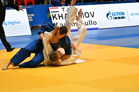 Orenburg, Russia - May 12-13 year 2018: Boys compete in Judo for European Judo Cup Redakční