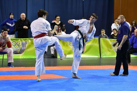 Orenburg, Russia - March 5, 2017 year: Boys compete in karate on Championship Orenburg region on kiokusinkaj