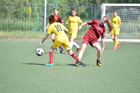 Orenburg, Russia - 12 June 2019 year: Girls play football women's tournament, dedicated to the Day Of Russia Editorial