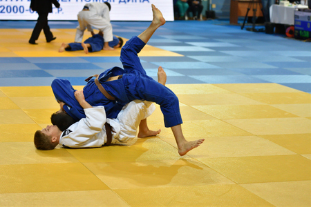 Orenburg, Russia - 21 October 2017: Boys compete in Judo at the all-Russian Judo tournament among boys and girls dedicated to the memory of V. S. Chernomyrdin