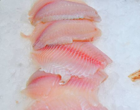 Fresh chilled fish is sold at the Bazaar 写真素材 - 129373839