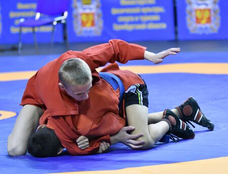 Orenburg, Russia - February 16, 2019: Boys competitions Self-defense without weapons in the Championship of the Orenburg region among boys and girls born 2003-2004 biennium of birth