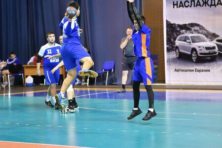 Orenburg, Russia - February12, 2018 year: boys play in handball International handball tournament in memory of the first Governor of Orenburg province Ivan Ivanovich Neplueva 写真素材 - 131742914