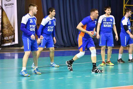 Orenburg, Russia - February12, 2018 year: boys play in handball International handball tournament in memory of the first Governor of Orenburg province Ivan Ivanovich Neplueva 報道画像
