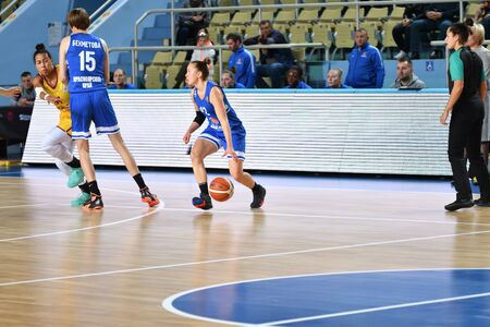 Orenburg, Russia - October 3, 2019: Girls play basketball in the match of the Russian Championship between basketball clubs Hope (Orenburg) and Enisey (Krasnoyarsk).