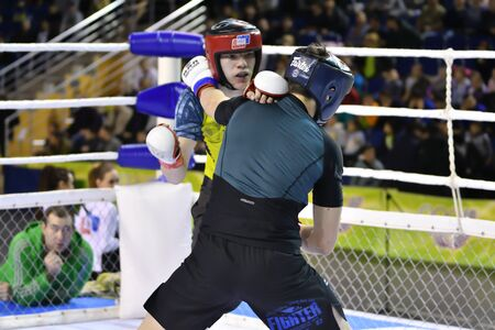 Orenburg, Russia - February 18, 2017 year: The fighters compete in mixed martial arts (MMA) in the Championship of the Orenburg region on mixed martial arts 報道画像