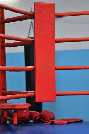 Empty red corner of the boxing ring