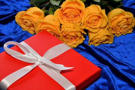 Yellow roses on a blue background and a gift for your loved one Stok Fotoğraf