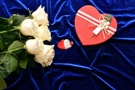 White roses and valentine's day gift on a blue background Standard-Bild - 137800204