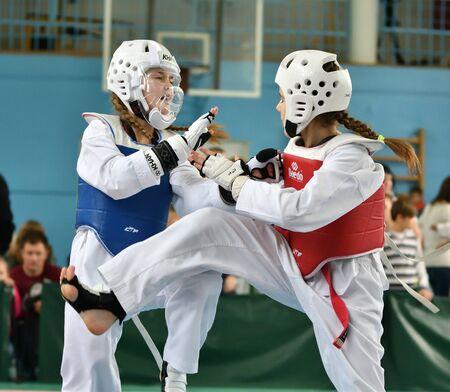 Orenburg, Russia - October 19, 2019: Girls compete in taekwondo At the Orenburg Open Taekwondo Championship