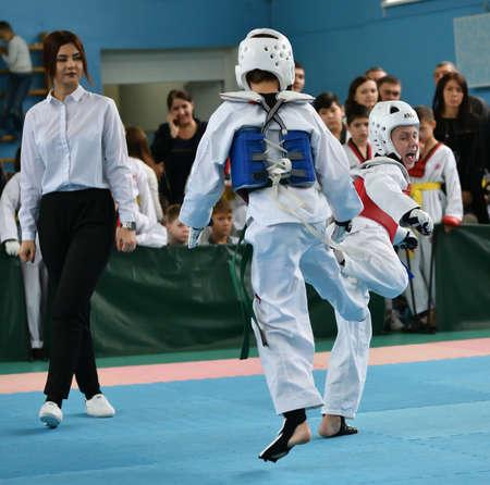Orenburg, Russia - October 19, 2019: Boys compete in taekwondo At the Orenburg Open Taekwondo Championship